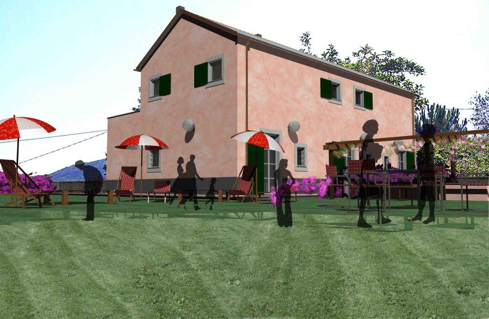 porzione giardino retrostante con zona barbeque